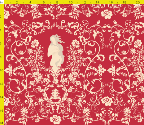 Rococo in Red Fabric Available for purchase at Spoonflower.com